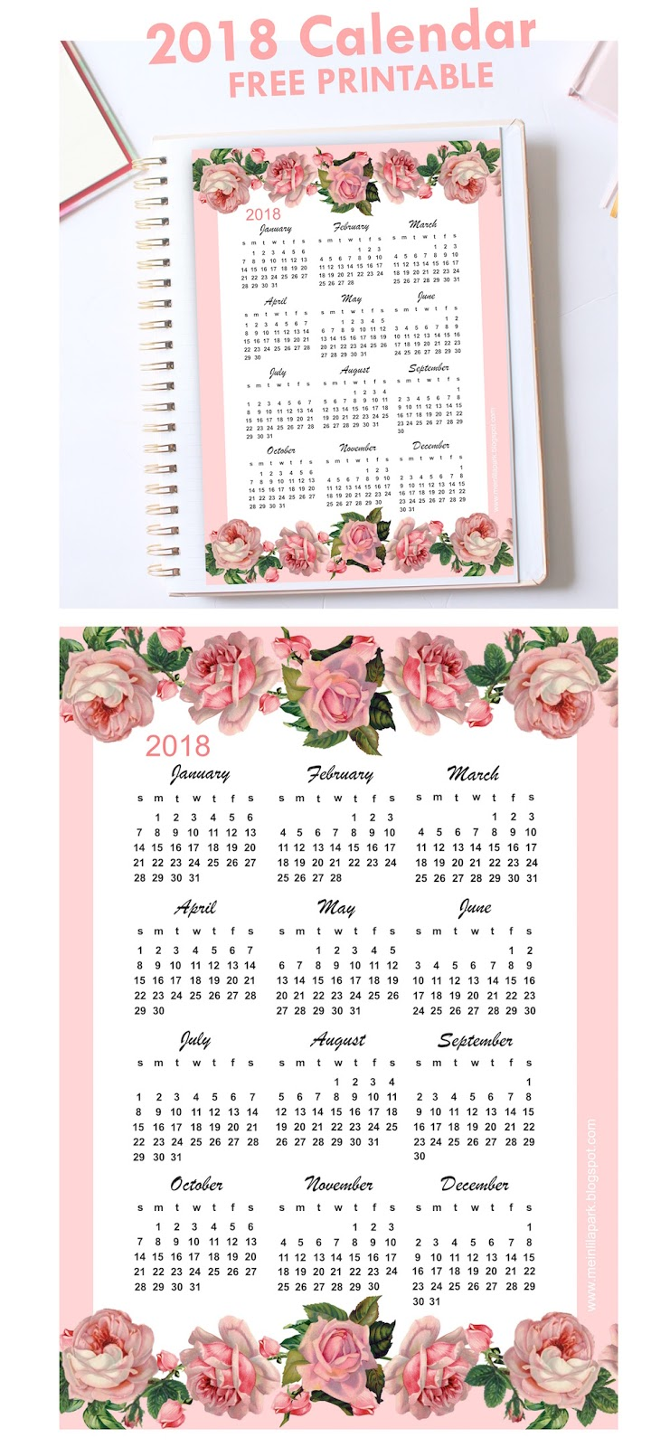 2018 floral printable monthly calendar true bliss designs