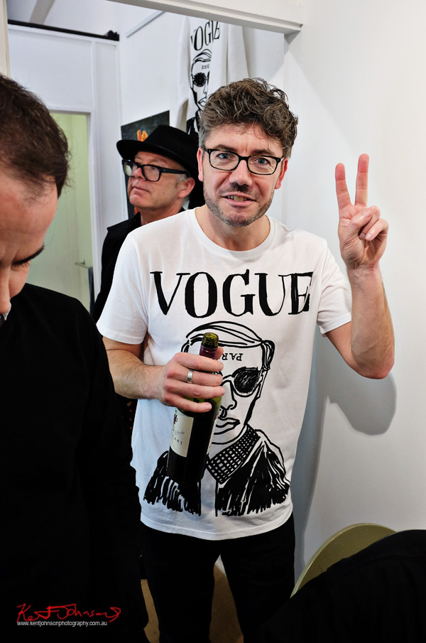 VOGUE - Karl Lagerfeld Tee Shirt, ARO Gallery opening, Street Fashion Sydney photographed by Kent Johnson.