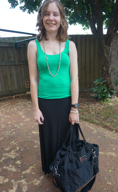 SAHM St Patrick's Day Outfit Casual Green Tank Black Jersey Maxi Skirt