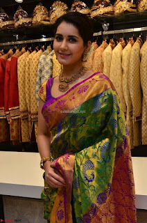 Raashi Khanna in colorful Saree looks stunning at inauguration of South India Shopping Mall at Madinaguda ~  Exclusive Celebrities Galleries 010