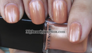 Givenchy vernis please fancy beige nail polish swatch with orange glitter manicure