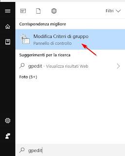 Menu Modifica Criteri di gruppo