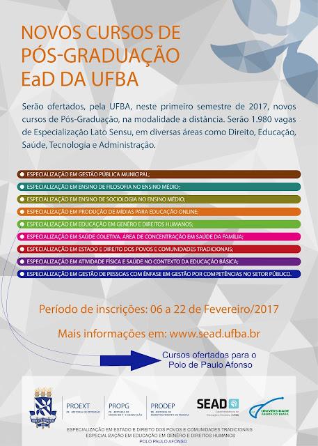 Novos cursos de Pós-graduação EaD da UFBA - Com vagas para Paulo Afonso.