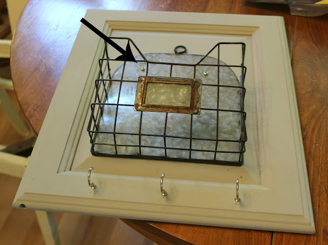 Garage Sale Wire Bin/Cabinet Door Up-Cycled for Mail & Keys