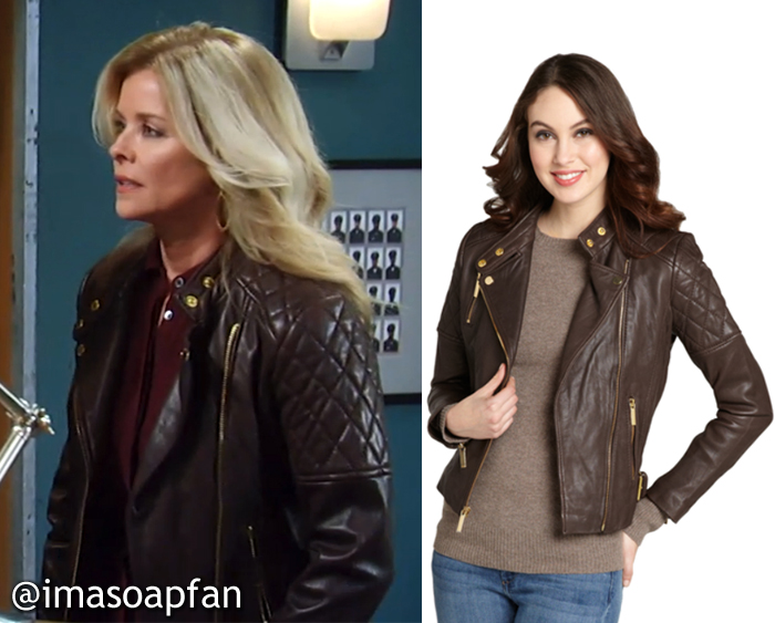 Felicia Scorpio, Kristina Wagner, General Hospital, GH, Chocolate Brown Leather Jacket