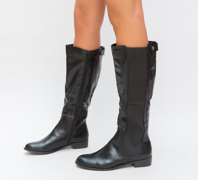 Cizme de iarna ieftine inalte negre fara toc cu fermoar pana la genunchi