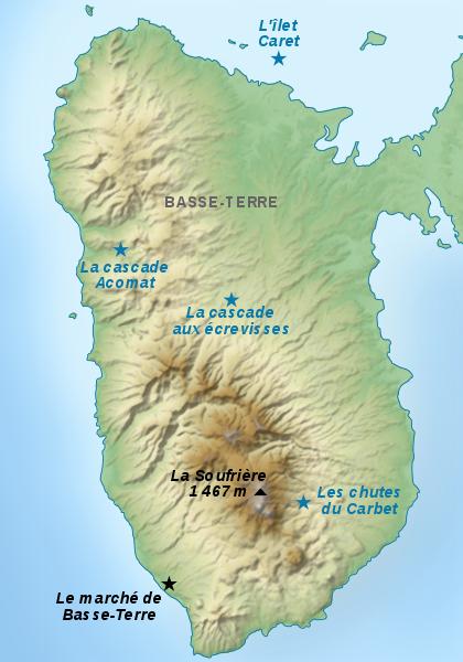 Carte de la Région Basse Terre -Guadeloupe