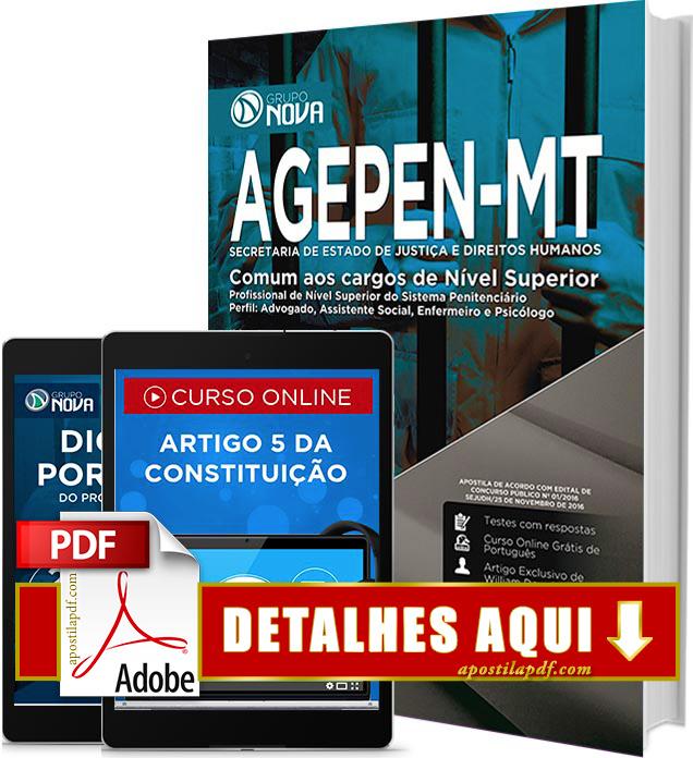Apostila AGEPEN MT 2016 Cargos de Nível Superior PDF Impressa