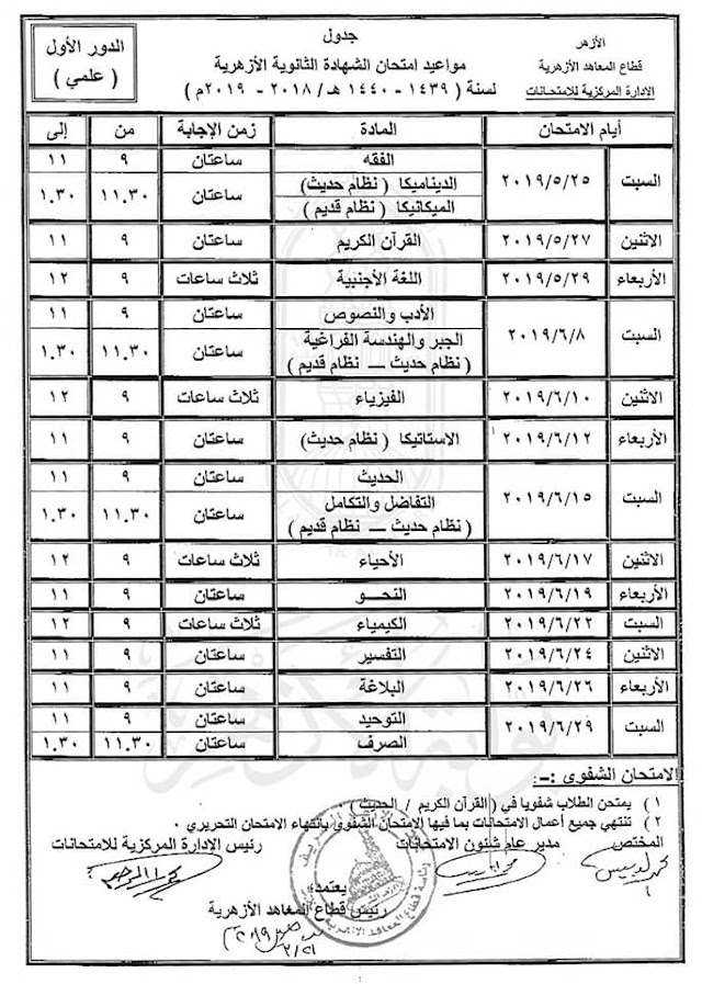 جدول امتحانات الثانوية الازهرية 2019 العلمى والأدبى