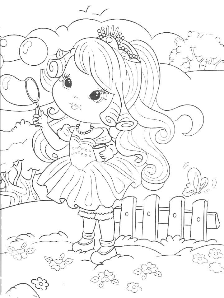 Dibujo para colorear de princesita haciendo burbujas