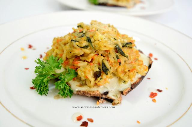 Arroz integral con verduras y portobello