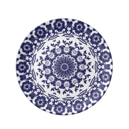 Navy Blue Flower BoHo Mandala Plate by JoMazArt