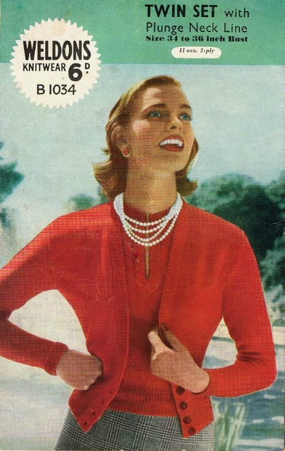 Model in red twinset sweater and pearls from 1950s Weldon's Knitwear