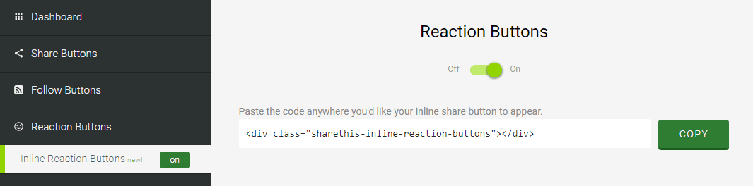 activar reacciones sharethis blogger