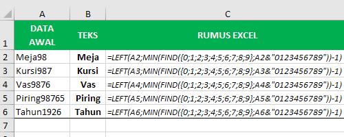 Rumus Excel Untuk Mengambil Teks Saja