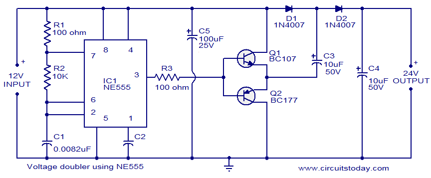 Ne555 timer based simple voltage doubler circuit electronic the circuit diagram of a very simple voltage doubler using ne555 timer is shown here here ic ne555 is wired as an astable mutivibrator operating at around sciox Image collections