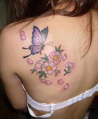 Foto Tattoo Design Butterfly Kupu Di Tubuh Wanita 14