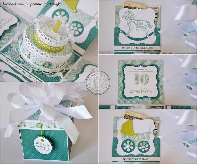 Eksplodujące pudełeczko z tortem na roczek Dylana