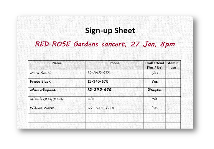 Example Choir Event Sign Up Sheet  Example Sign In Sheet