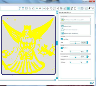 Screenshot mit Nachzeichnungseinstellungen