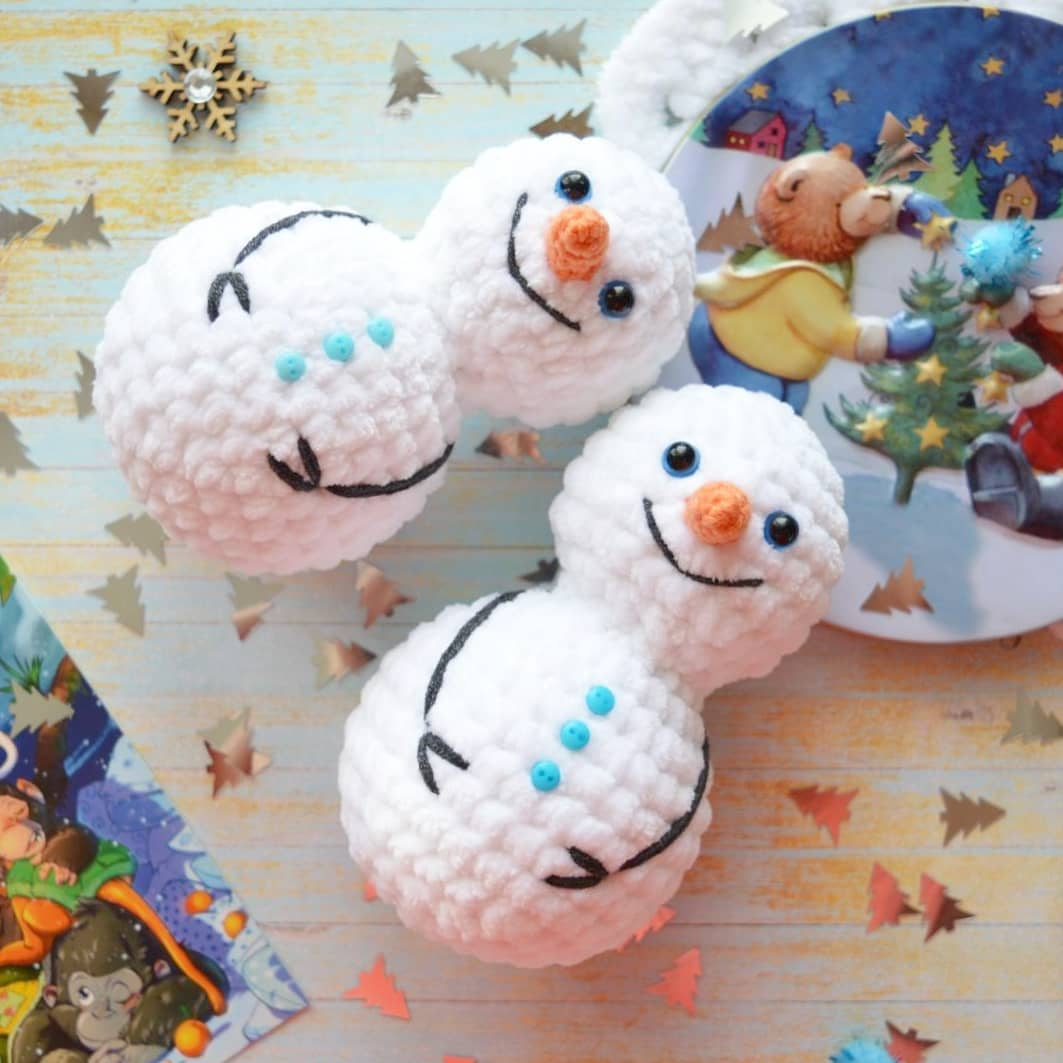 Amigurumi snowman Christmas snowman decorations Miniature plush ... | 1063x1063