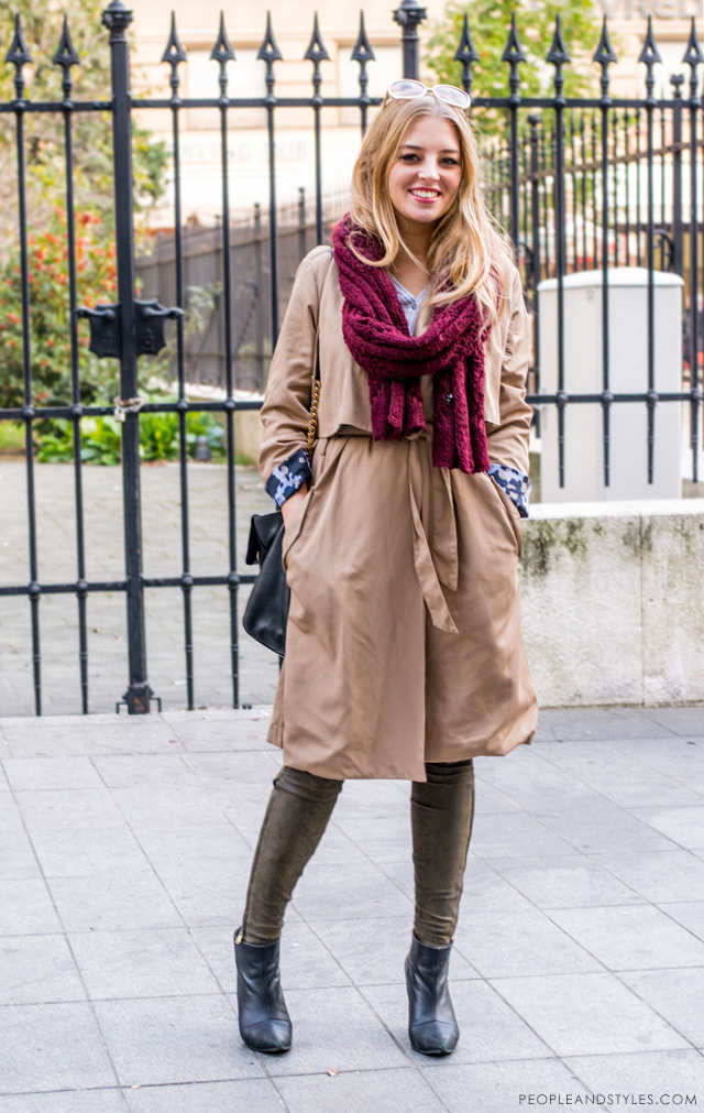 How to style trench coat with camo details on sleeves by Zara and oxblood knitted scarf, Brigita Siništaj studentica iz Dubrovnika