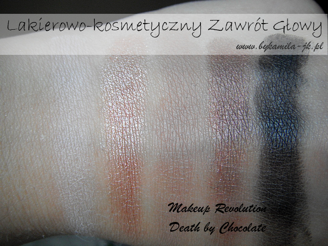 Paleta cieni Makeup Revolution Death by Chocolate swatch swatche