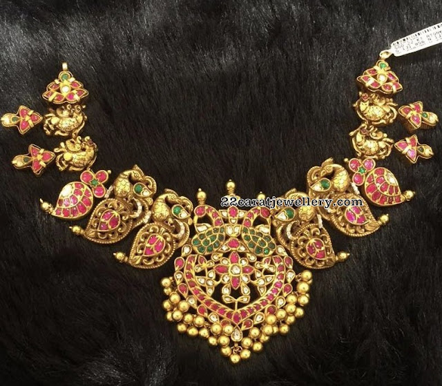 Nakshi Peacock Necklace with Red Kundan