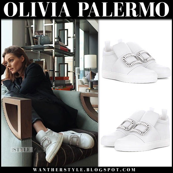 Olivia Palermo in white crystal embellished sneakers roger vivier sneaky viv casual style november 11
