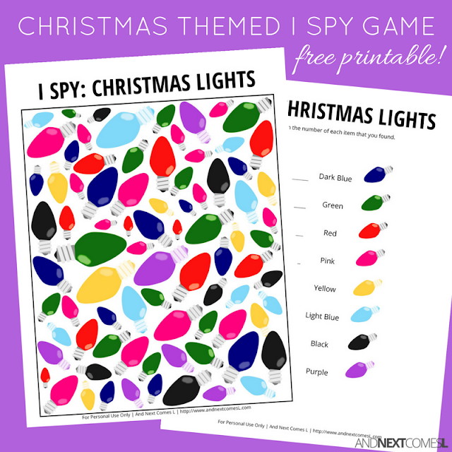Free Christmas lights themed I Spy game for kids from And Next Comes L