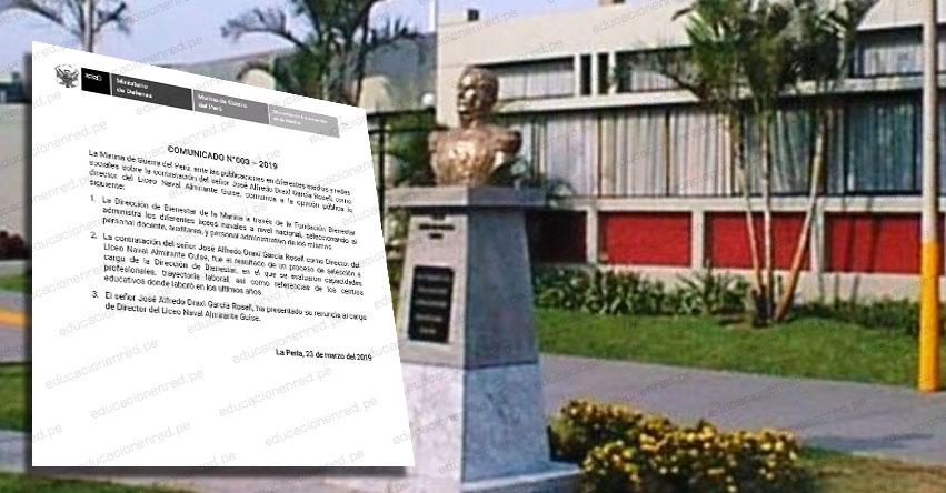 Director de liceo naval renuncia al cargo tras denuncias en su contra, informó la Marina de Guerra del Perú - MGP