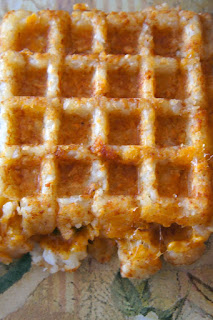 Tater Tot Waffle Jalapeño and Bacon Grilled Cheese: Savory Sweet and Satsifying