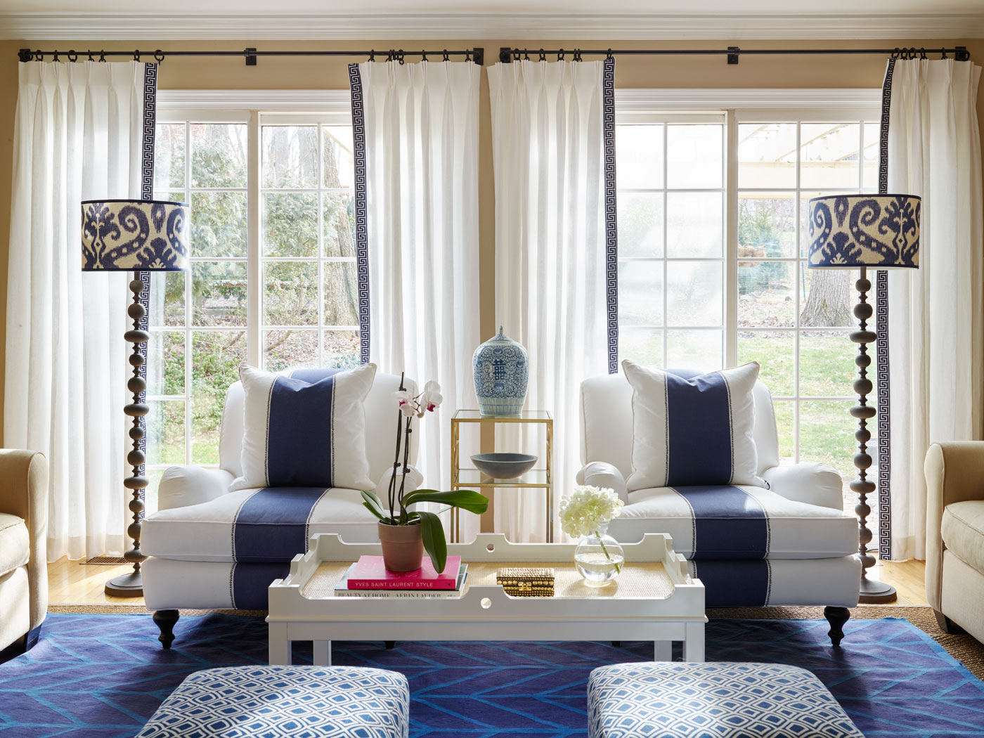 Stephanie Kraus Designs Blue and White Living Room  A