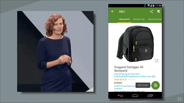 Пример с презентации: ищешь рюкзак в Google и сразу заказываешь в подгруженной части приложения
