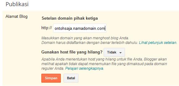 masukkan URL subdomain anda di blogspot