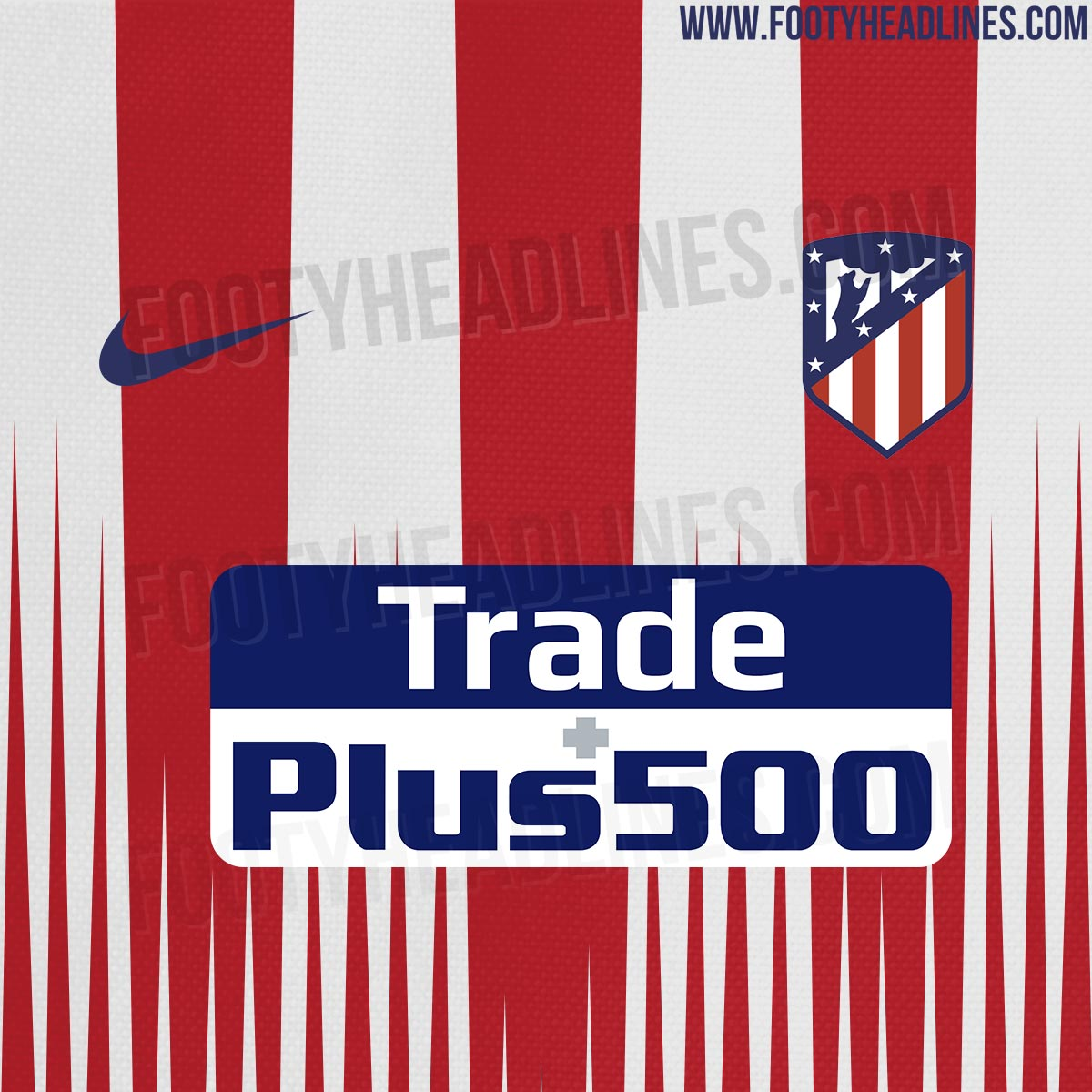 Atletico Madrid's 2018-2019 pre-match top is based on the new Nike 18-19  template and comes with a blue stripe on the sleeves.