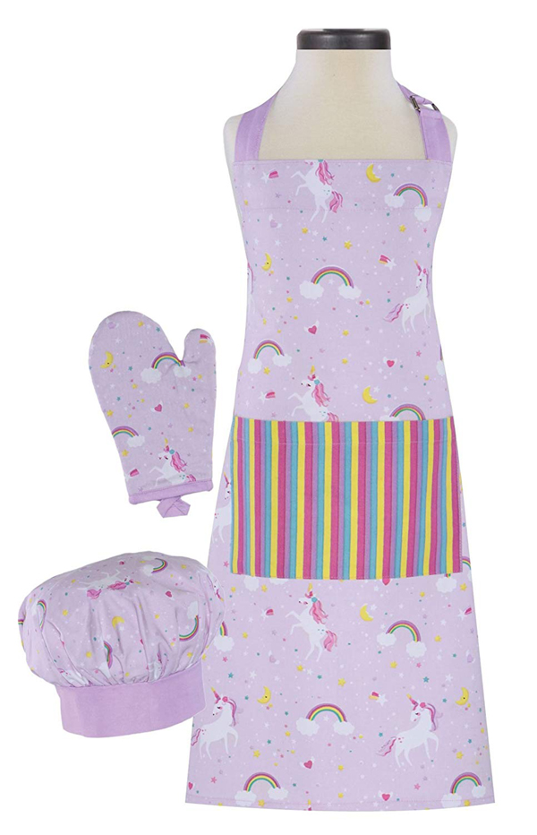 Unicorn print apron, chef hat, oven mitt for kids, tweens and teens
