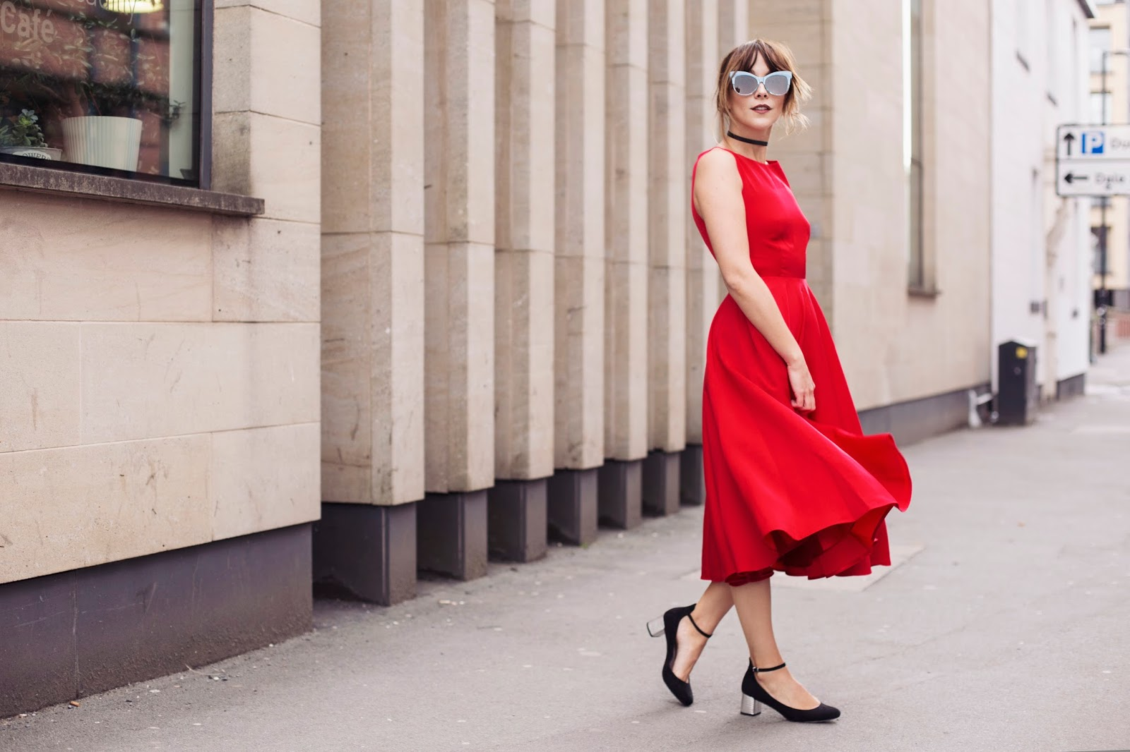Selfridges TED BAKER red Lyxa satin midi dress styled with cat eye glasses and choker