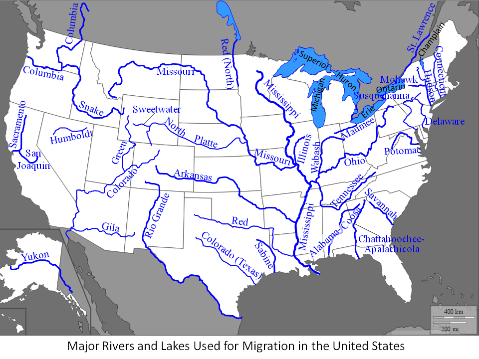 Usa Map With Rivers And Lakes