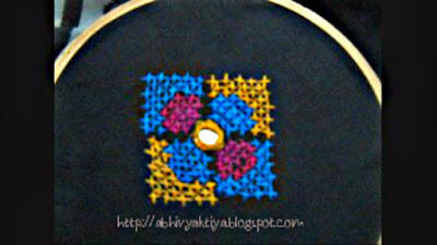 how to do cross stitch with multiple color threads, tutorial for beginners