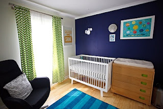 dormitorio decorado en azul