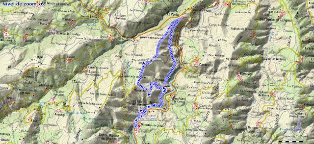 Mapa de la ruta Corias Santa Ana