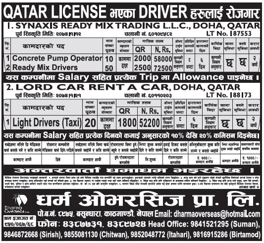 Jobs in Qatar for Nepali, Salary Rs 72,500