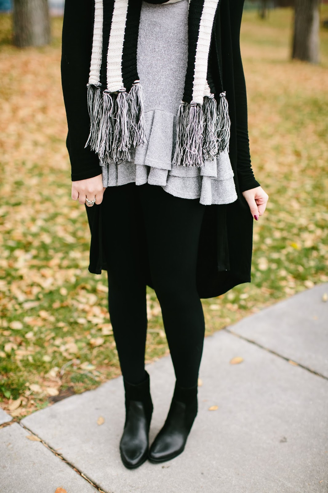 Ruffle Me Pretty Shirt, Black Booties, Fall Outfit