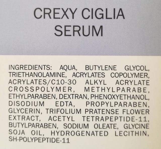 crexy ciglia serum INCI