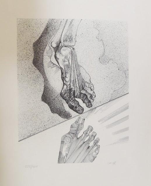 Joan Rifà litografía surrealista mano pie