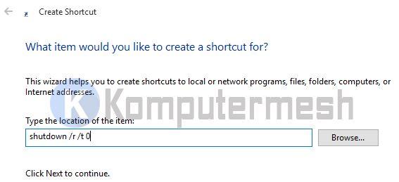 Cara Membuat Shortcut Shutdown windows 10