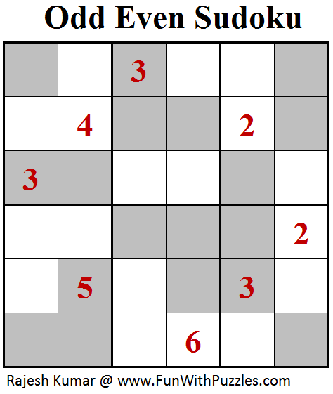 Odd Even Sudoku (Mini Sudoku Series #98)