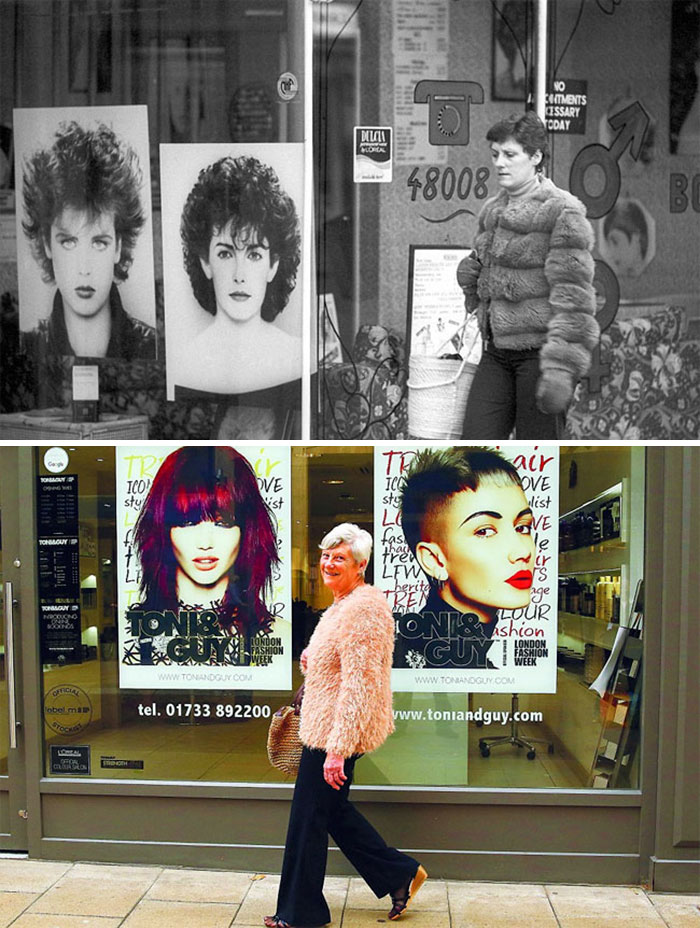 Photographer Recaptures Old Pictures Creating A Beautiful Reunion Of People He Photographed Decades Ago - Hairdressers Shop (1980 And 2016)