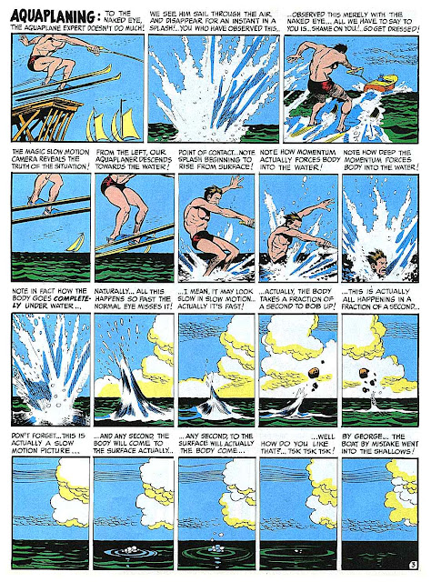 """a1950s Jack Davis color cartoon for MAD, """"Slow motion waterski jump"""""""